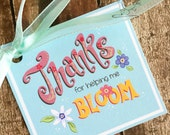 Thanks for Helping me BLOOM Printable Square Tag, Teacher Appreciation, birthday, favor, customizable- PR39-BLOOM