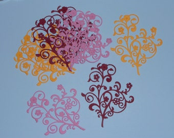 9 Flourishes/Die Cuts/Embellishments/Paper Cuts/Scrapbooking/Card Making/Flowers/