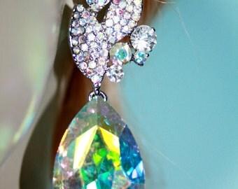 Rhinestone Chandelier Earrings Bridal Prom Pageant 3 inch Clear AB Crystal