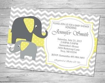 Elephant Chevron Baby Shower Invitation- Personalized Digital File
