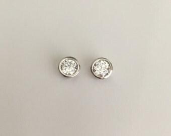 Solitaire Earrings. Sparkle Cubic Zirconia Earrings. Sterling Silver Stud Earrings. Bridesmaid Earrings. Wedding. Everyday Earrings. Bride.