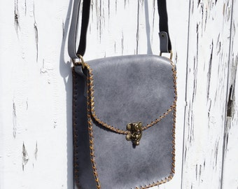 Vintage Leather Style Bag - Blue Grey - Festival Retro Sewn Handbag Messenger R