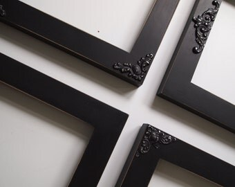 Black Picture Frame Set - Vintage Wood Ornate Collection - Gallery Wall  - Distressed Finish - Cottage Chic - Modern Home Decor Collection