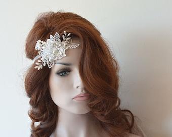 Ivory Bridal Lace Headband,  Rhinestone and Pearl Headpiece, Lace Bridal Headband, Bridal Hair Accessory, Wedding Hair Accessories