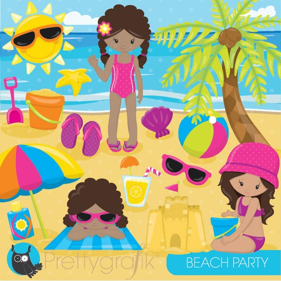 beach party girls clipart commercial use beach kids vector graphics rh catchmyparty com Beach Umbrella Clip Art beach party background clipart