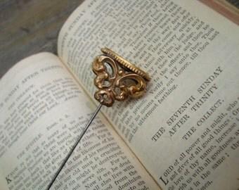 "Victorian Gold Filled Filigree Hat Pin 9 1/4"""