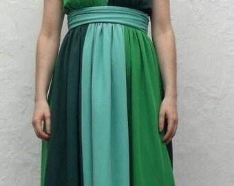 Amazing Shades of Green Halter Maxi Dress 1970s uk 8 small 10