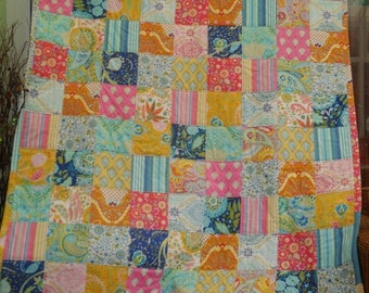 patchwork quilt, single bed quilt, ready to post