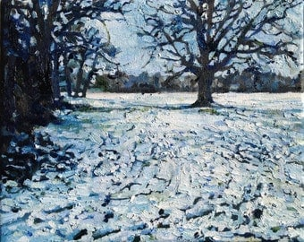 "PRINT REPRODUCTION of original painting ""Snow, Southampton Common"" on paper"