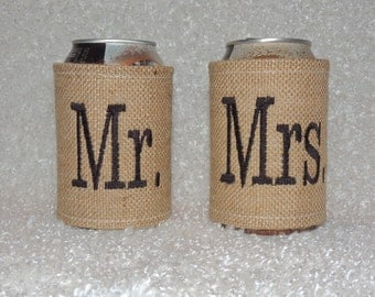 Burlap Cooler, Mr and Mrs burlap cooler, Monogrammed can cooler, wedding can coolers, burlap cup cooler