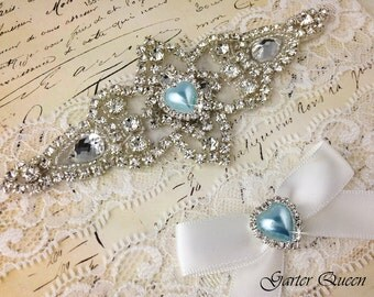 Off White Lace Garter Set, Something Blue Wedding Garter, Bridal Garter set, Rhinestone Garter, Light Ivory Garter, Crystal Garter