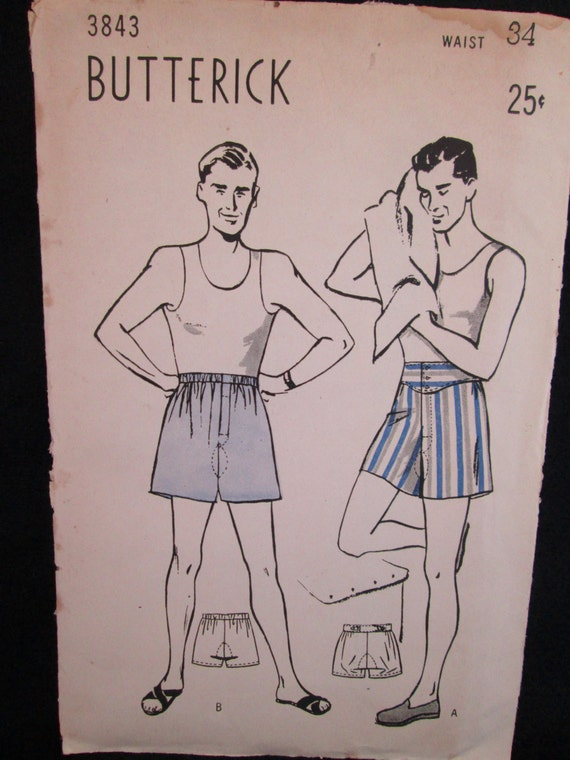 Vintage 1930's Butterick Sewing Pattern #3843 MEN's SHORTS in Two Styles Perforated w/ Instructions