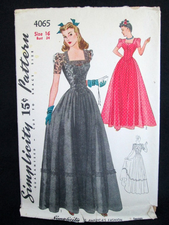 Vintage Simplicity Pattern #4065 Misses' & Junior Misses' Dance Frock Dress 1940's Sewing Pattern Instructions Perforated