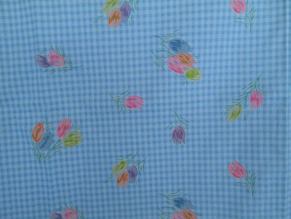 """Fun Vintage Checkered BLUE and WHITE Cotton Fabric FLOCKED with Brightly Colored Tulips Flowers  44"""" Wide 67"""" Long"""