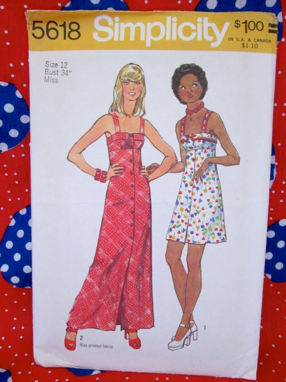 Vintage Simplicity Pattern #5618 Misses' DRESS in Two Lengths 1970's Printed Sewing Pattern w/ Instructions~Summertime Wear