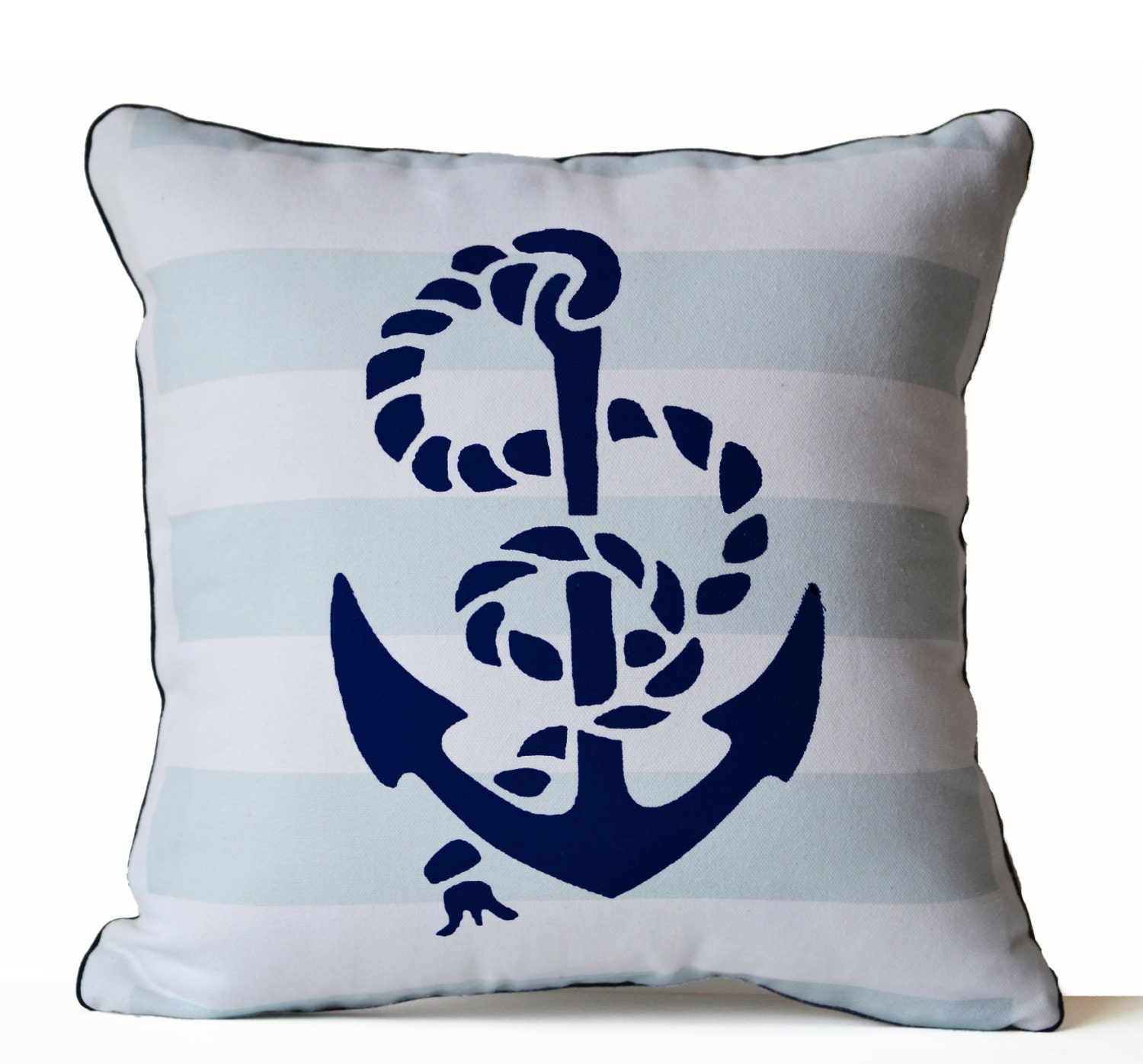 Nautical Coastal Throw Pillows : Throw Pillow Cover Anchor Pillow Nautical Oceanic Beach