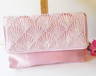 Pink Evening Bag, Vintage Pink Bag, Pink Beaded Bag. Pink Bead Clutch, Glamorous Purse, Pink Bead Handbag, EB-0026