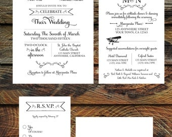 Vintage Airplane Wedding Invitation