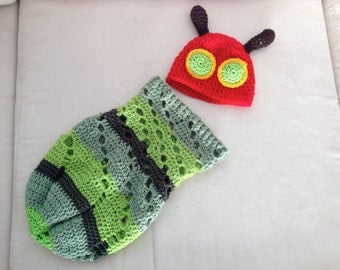 Very Hungry Caterpillar newborn Beanie and Cocoon set, crochet
