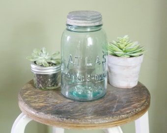 1930's Atlas Vintage Mason Jar with Lid