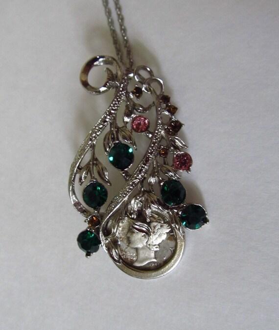 1943 mercury dime brooch pendant necklace rhinestones