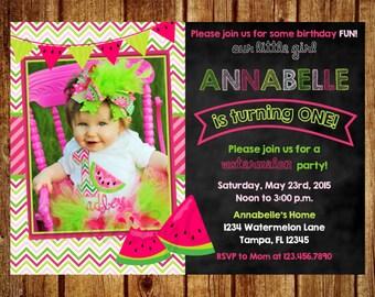 Pink and Green Watermelon Chalkboard Photo Birthday Invitation- Digital File- Printable Watermelon Invitation, 1st, 2nd, 3rd, 4th, 5th, 6th