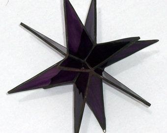 Purple Grape Streaky, Moravian Star, Stained Glass Star, Stars,12 Point Star, Ornament, Home Decor, Hanging Suncatcher,Tiffany Glass Star,