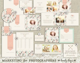 Marketing Set Branding Kit for Photographers with Business Card Letterhead Gift Certificate and More INSTANT DOWNLOAD