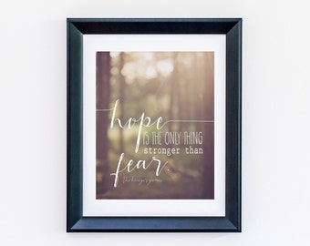 Hope is the Only Thing Stronger Than Fear, Katniss and Peeta, The Hunger Games, 8 x 10 or 11 x 14 Beautiful Print