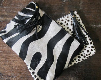 LARGE Black and White Zebra Natural Cows Hide Clutch- Animal Print Case with Suede Lining & Leather Tassel - iPad Case, iPad Cover