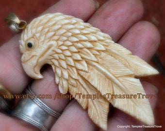 Native American Eagle Head Pendant with sterling bale/ Buffalo Bone Carved Eagle Head/ 925 bale/ Pendant Gift for Him/Pendant Gift For Her