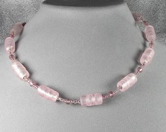 Pink glass bead choker