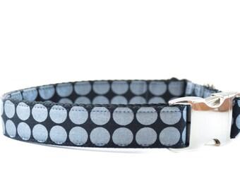 Black Metallic Dog Collar, Shimmery Silver and Onyx Metal Buckle Polkadots Wedding Dog Collar