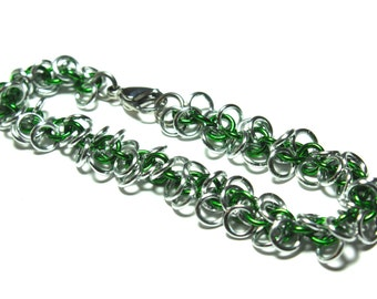 Shaggy Loops Chainmaille Bracelet | Hand Crafted Chainmaille Jewelry | Handmade Bracelet | Green and Silver | Anodized Aluminum