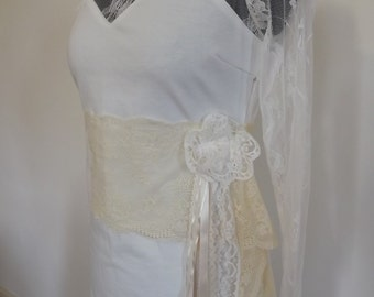 Upcycled clothing.  Dress with lace bodice and sleeves. 'Champagne'  Size 10/12 (UK)