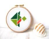 Tropical fish hoop art, cross stitch, nursery wall art, kids wall decor, kids room decor, tangram shape