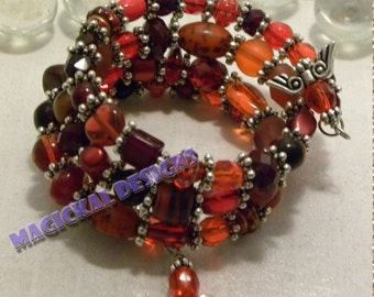 50 Shades of Red - Triple spiral bracelet of red beads