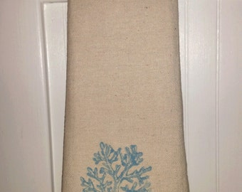 Set of 3 Coral or Anchor hand towels, Bathroom Hand Towels