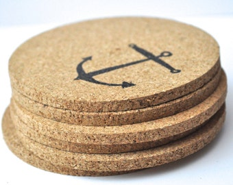 Cork Coasters, nautical coasters, anchor Coasters, nautical, Ocean theme, housewarming, nautical theme, beach coasters, nautical wedding