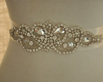 Rhinestone Applique Bridal for Wedding Gown