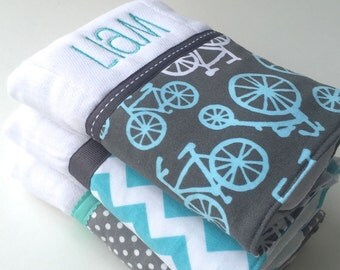 Personalized burp cloths, baby burp cloth, Mod Bikes, Personalized baby gift,