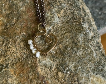 Bronze Heart Necklace with Fresh Water Pearls