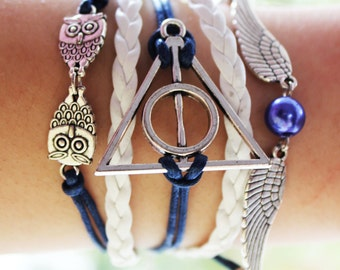 Deathly Hallows Bracelet Deathly Hallows Jewelry Owl Bracelet Owl Jewelry Friendship Bracelet Charm Bracelet Infinity Bracelet Beadwork Gift