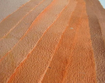 10 Beautiful Sheets of Handmade Paper Orange Rust-Colored
