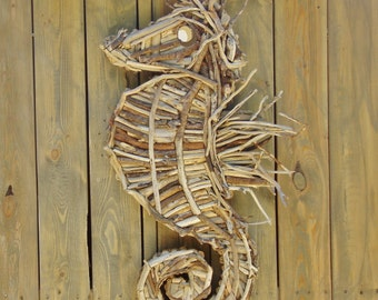 Sea Horse Sculpture in Driftwood Mounted On Barnwood