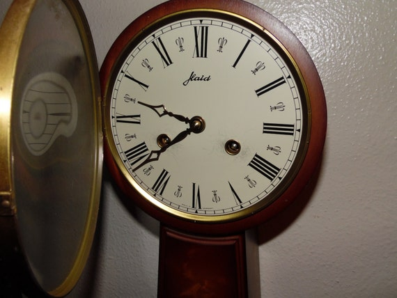 Vintage W Haid 8 Day Bell Chime Banjo Clock West Germany