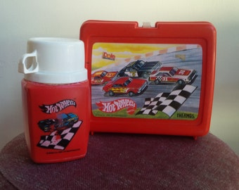Hot Wheels Vintage Lunchbox Thermos Set 1980s Hot Wheels Collection Lunchbox USA Collectible