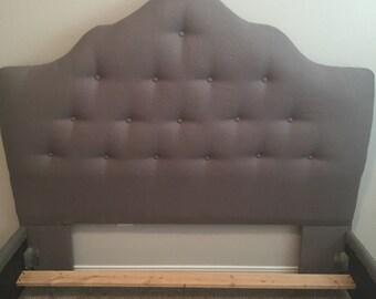 Beautiful Custom Headboard Bedframe Gray Linen with Buttons