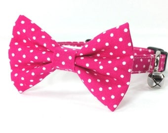 Raspberry pink polka dot dog bow tie collar set & cat bow tie collar set - adjustable with bell (optional)