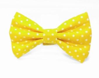 Yellow polka dot cat bow tie & dog bow tie
